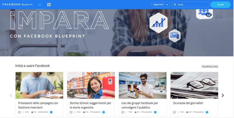 Impara con Facebook Blueprint
